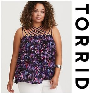 Multicolor Palm Leaf Strappy Georgette Tank